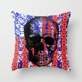 US Skull in a digital circuit. Throw Pillow