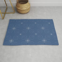 Blue Floral Twist Vine Pattern Rug