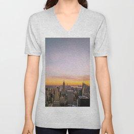 New York City Sunset - Midtown Unisex V-Neck