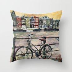 Going Dutch (blue) Throw Pillow