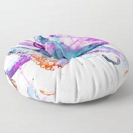 Octopus Watercolor Art Floor Pillow