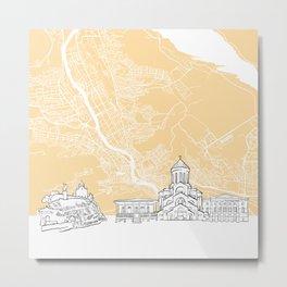 Tbilisi Georgia Skyline Map Metal Print