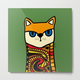 Nine Lives of a Cat in Green Metal Print