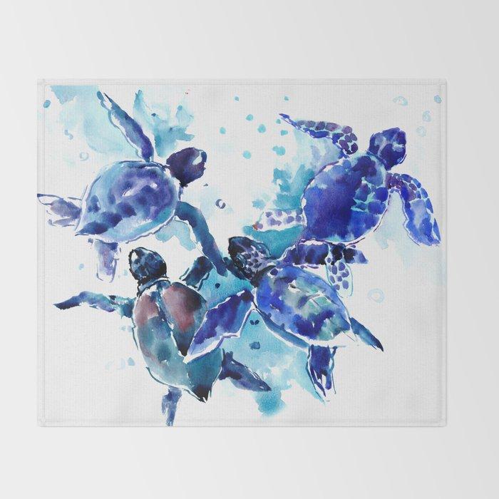 Sea Turtles, Marine Blue underwater Scene artwork Throw Blanket