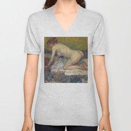 "Henri de Toulouse-Lautrec ""Crouching Woman with Red Hair"" Unisex V-Neck"