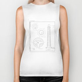 Absecon Lighthouse Blueprint Biker Tank