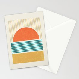 Sun Beach Stripes - Mid Century Modern Abstract Stationery Cards