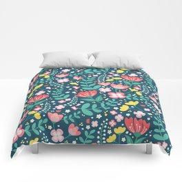 Flower Lovers - Dark Blue Comforters