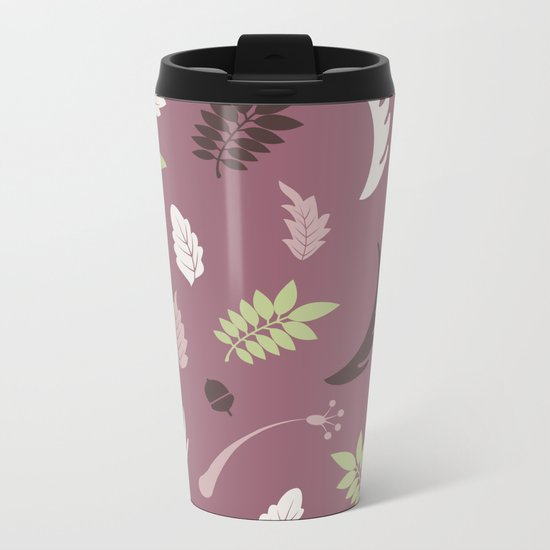 COLORED LEAVES P  (abstract pattern) Metal Travel Mug