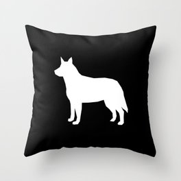 Australian Cattle Dog silhouette portrait dog pattern grey and white Throw Pillow