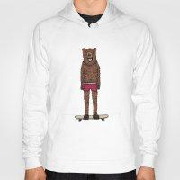 skateboard Hoodies featuring Bear + Skateboard by Lara Trimming