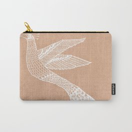 Modern bird lineart drawing on beige - Bloomartgallery Carry-All Pouch
