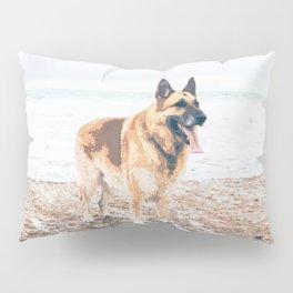 Long Tongue German Shepherd Dog On The Beach Pillow Sham