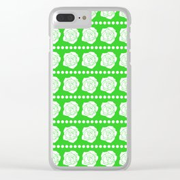 Simple White Roses - Green BG Clear iPhone Case
