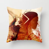 mother of dragons Throw Pillows featuring Mother of Dragons by Micheal Calcara