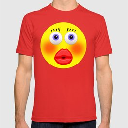 Smiley Embarrassed Kissing Girl T-shirt