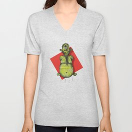 A Green Cyclop Monster Levitating Unisex V-Neck