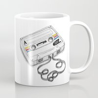cassette Mugs featuring Cassette by Sonia Puga Design