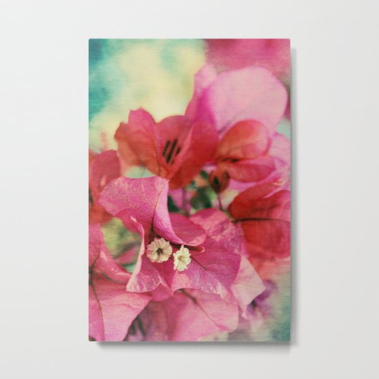 Vintage Bougainvillea Flowers in pink & green with textures Metal Print