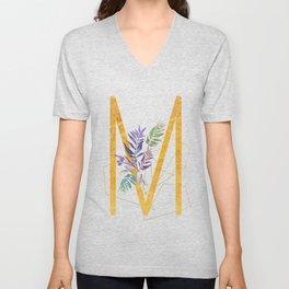 Modern glamorous personalized gold initial letter M, Custom initial name monogram gold alphabet prin Unisex V-Neck