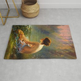 Classical Masterpiece 'Seated Nude by Lily Pond' by Louis Comfort Tiffany Rug