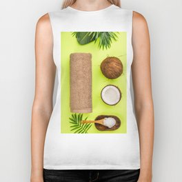 Coconut oil, tropical leaves and fresh coconuts Biker Tank