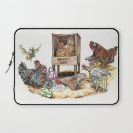 """Life in the Coop"" funny chicken watercolor Laptop Sleeve"