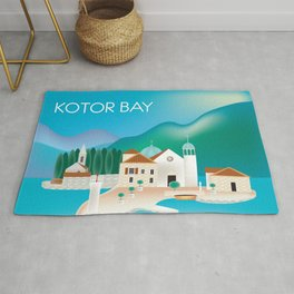 Kotor Bay, Montenegro - Skyline Illustration by Loose Petals Rug