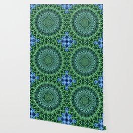 Detailed mandala in light blue and green Wallpaper