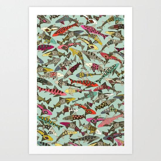 shark party summer Art Print