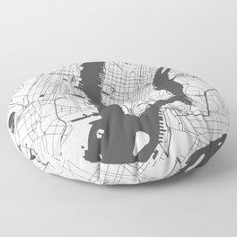 New York City White on Gray Street Map Floor Pillow