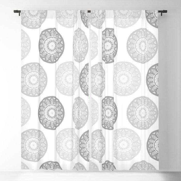 Minimal Mandalas - Black White Grey Pattern Blackout Curtain