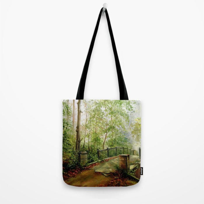 Old bridge in the forest Tote Bag
