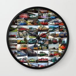 Locomotives collage Wall Clock