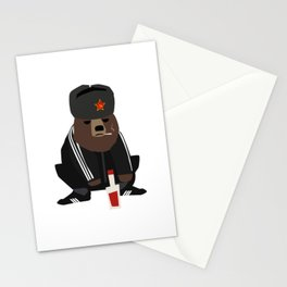 Gopnik bear squatting on the street  Stationery Cards