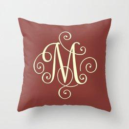 M Monogram - Red Throw Pillow