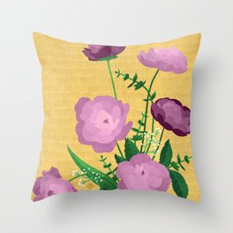 Violet Blooms on Textured Mustard Yellow Throw Pillow