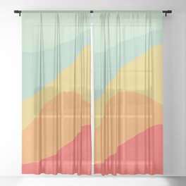 Abstract Color Waves - Bright Rainbow Sheer Curtain