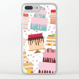 Birthday, valentine's day, wedding, engagement. Set sweet cake, chocolate icing sprinkles Clear iPhone Case