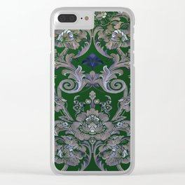 Painted Tibetan Brocade green Clear iPhone Case
