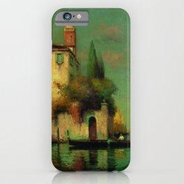 Gondolier à Venise - Venice, Italy landscape painting by Antonie Bouvard iPhone Case
