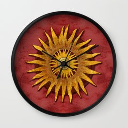 """Aztec Sun and pickled coral"" Wall Clock"