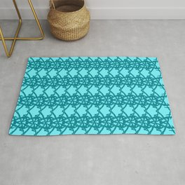 Braided openwork pattern of wire and blue arrows on a light blue background. Rug
