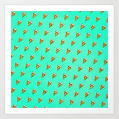 Cool and Trendy Pizza Pattern in Super Acid green / turquoise / blue Art Print