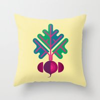 vegetable Throw Pillows featuring Vegetable: Beetroot by Christopher Dina