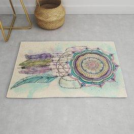 Modern tribal hand paint dreamcatcher mandala design Rug
