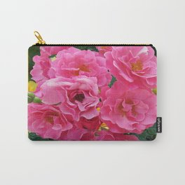CLUSTERED PINK ROSES YELLOW-GREY ART Carry-All Pouch