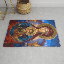 Madonna and Child Icon Virgin Mary Byzantine Orthodox Art work Rug