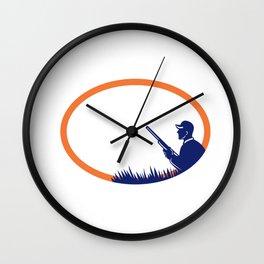 Duck Hunter Shotgun Oval Retro Wall Clock