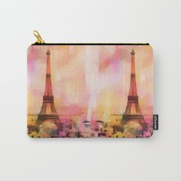 Paris Eifel Tower Abstract Art Illustration pink orange yellow Carry-All Pouch